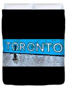 Toronto In The Rain Poster In Blue Duvet Cover