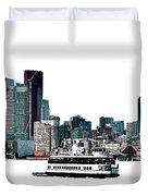 Toronto Portlands Skyline With Island Ferry Duvet Cover