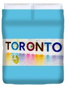 Toronto Sign In Muted Colours Duvet Cover