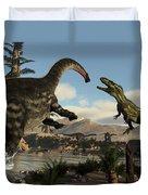 Torvosaurus And Apatosaurus Dinosaurs Fighting - 3d Render Duvet Cover