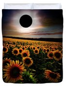 Total Eclipse Over The Sunflower Field Duvet Cover