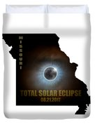 Total Solar Eclipse In Missouri Map Outline Duvet Cover