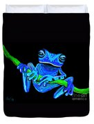 Totally Blue Frog On A Vine Duvet Cover