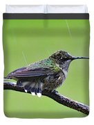 Totally Wet But Beautiful - Ruby-throated Hummingbird Duvet Cover