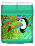 Toucan And Red Eyed Tree Frog Duvet Cover