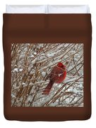 Touch Of Red For An Icy Morning Duvet Cover