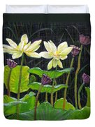 Touching Lotus Blooms Duvet Cover