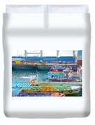 Tour Boats In Port Of Valparaiso-chile Duvet Cover