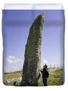 Tourist Admires The Trushal Stone Duvet Cover