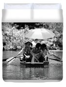 Tourist Boating Thru Tam Coc Bw Duvet Cover