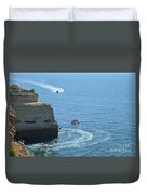 Tourist Boats And Cliffs In Algarve Duvet Cover