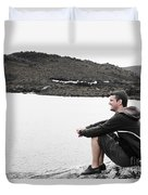 Tourist Seated At Dove Lake Lookout In Tasmania Duvet Cover