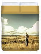 Tourist With Backpack Looking Afar On Mountains Duvet Cover