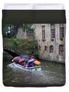 Tourists With Umbrellas In A Sightseeing Boat On The Canal In Bruges Duvet Cover