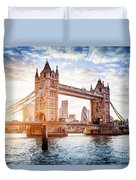 Tower Bridge In London, The Uk At Sunset. Drawbridge Opening Duvet Cover