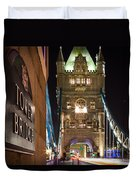 Tower Bridge Side Sign Duvet Cover
