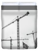 Tower Cranes Bw Construction Art Duvet Cover