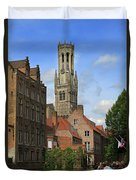 Tower Of The Belfrey From The Canal At Rozenhoedkaai Duvet Cover