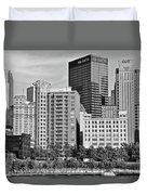 Tower Over Pittsburgh In Black And White Duvet Cover