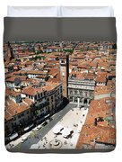 Tower View Of Piazza Delle Erbe In Verona Italy Duvet Cover