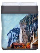 Towering Cliffs And Houses Duvet Cover