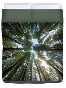 Towering Fir Trees In Oregon Forest State Park Duvet Cover