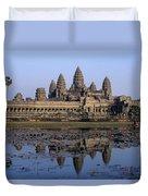 Towers Of Angkor Wat And Lake Duvet Cover
