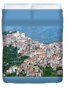 Town Clinging To A Hill Top In Southern Italy Duvet Cover