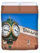Town Clock Lincoln Nebraska Duvet Cover