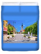 Town Of Bicycles Koprivnica Street View Duvet Cover