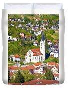 Town Of Krapina Church Vertical View Duvet Cover