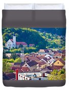Town Of Krapina Rooftops View Duvet Cover