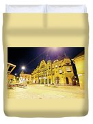 Town Of Ptuj Historic Main Square Evening View Duvet Cover