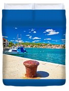 Town Of Tisno Harbor And Waterfront Duvet Cover