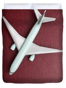 Toy Airplane Over Red Book Cover Duvet Cover