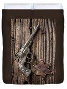 Toy Gun And Ranger Badge Duvet Cover