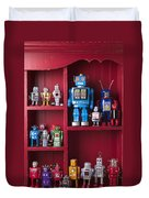 Toy Robots On Shelf  Duvet Cover by Garry Gay