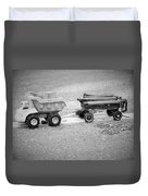 Toy Truck In Black And White Duvet Cover