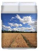 Tracks Through Wheat Field Duvet Cover