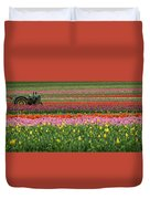 Tractor Among The Tulips Duvet Cover