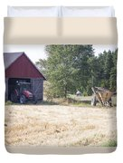 Tractor At A Wheat Field Duvet Cover