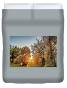 Tractor At Sunset Duvet Cover