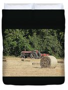 Tractor In The Hay Field Duvet Cover