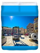 Traditional Dalmatian Town Of Tisno Square Duvet Cover