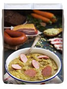 Traditional Dutch Pea Soup And Ingredients On A Rustic Table Duvet Cover