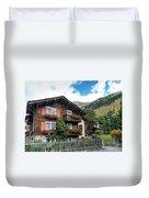 Traditional Swiss Alps Houses In Vals Village Alpine Switzerland Duvet Cover