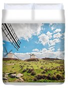 Traditional White Windmills  Duvet Cover