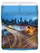 Traffic Light Trails In Singapore Chinatown Duvet Cover