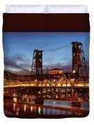 Traffic Light Trails On Steel Bridge Duvet Cover