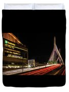 Traffic Racing Over Zakim Bridge Duvet Cover